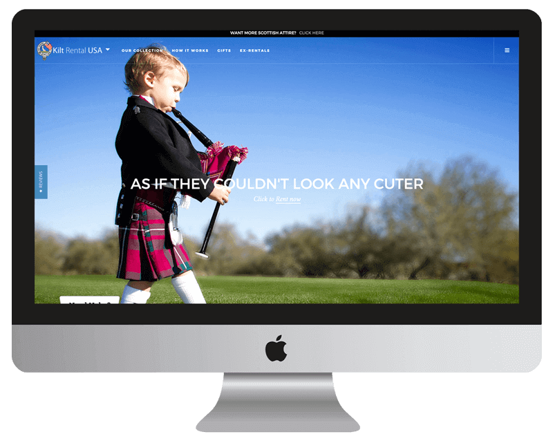 kilt rental retail web design
